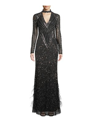 Parker Portia Bead & Feather Long-Sleeve Gown