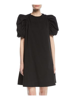 PASKAL Puff-Sleeve Cotton A-Line Mini Dress