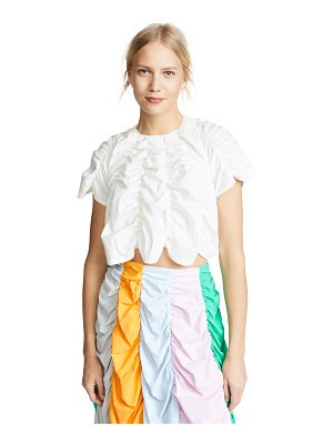 PASKAL short sleeve draped crop top