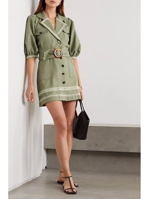 PatBo belted embroidered gauze mini dress