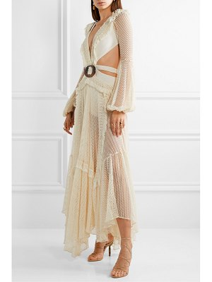 PatBo cutout fringed cotton-blend mesh and stretch-jersey maxi dress