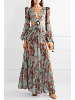 PatBo cutout printed chiffon and stretch-jersey maxi dress