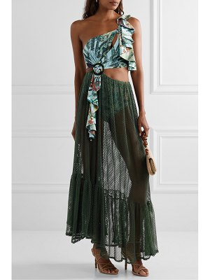 PatBo eden one-shoulder printed stretch-jersey and cotton-blend mesh maxi dress