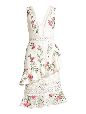 PatBo floral embroidered lace midi dress