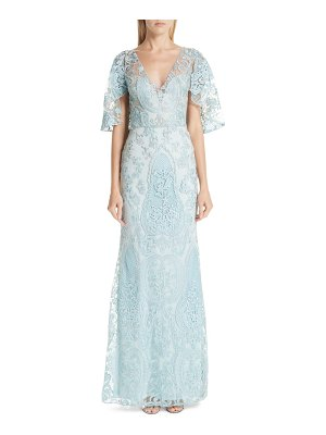 PatBo flutter sleeve beaded lace gown