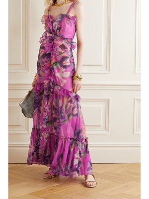 PatBo grace ruffled floral-print chiffon maxi dress