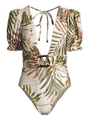 PatBo palmeira puff-sleeve one-piece swimsuit