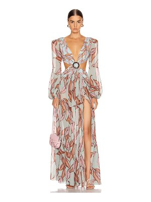 PatBo printed long sleeve cutout dress