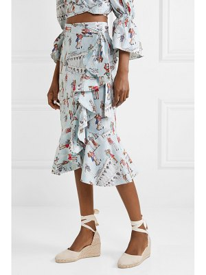 PatBo ruffled printed cotton-blend poplin wrap skirt