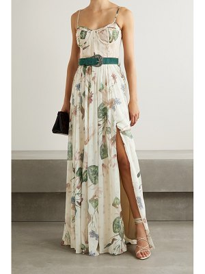 PatBo sophia belted lace-paneled floral-print chiffon maxi dressmulti