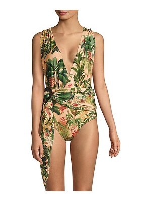 PatBo tie waist plunging print one-piece swimsuit