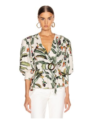 PatBo tropical print belted top