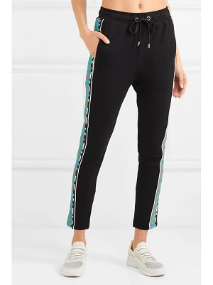 P.E NATION double block striped stretch-ponte track pants