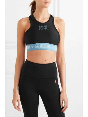 P.E NATION figure four mesh-trimmed stretch sports bra