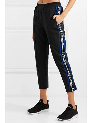 P.E NATION torque cropped striped cotton-blend track pants