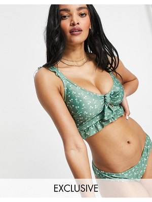 Peek & Beau fuller bust exclusive cut-out bow bikini top with ruffle detail in green floral
