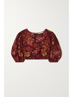 Peony + net sustain cropped floral-print organic cotton-blend top