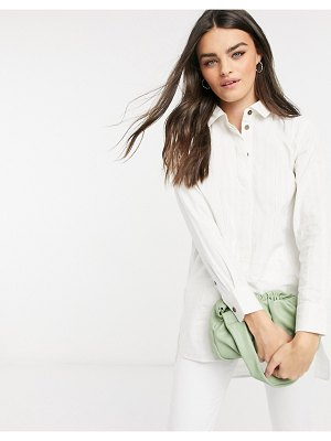 People Tree longline cotton shirt with curved hem-white