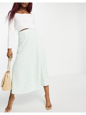 People Tree midaxi skirt in pretty floral-green