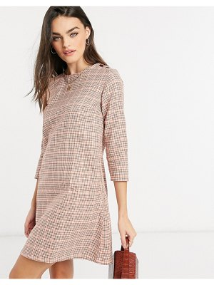 People Tree organic cotton mini dress in houndstooth check-red
