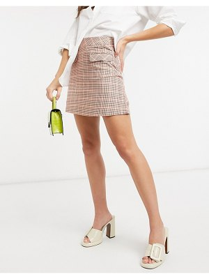People Tree organic cotton mini skirt in houndstooth check-red