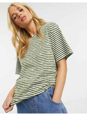 People Tree organic cotton sailor-stripe t-shirt with bee print-white