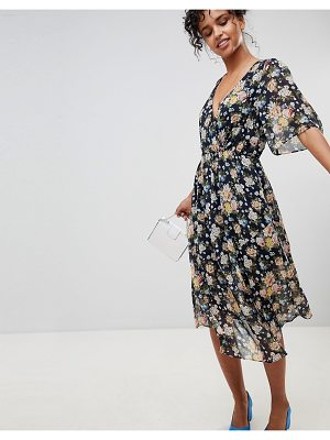 Pepe Jeans Magaly Floral Wrap Midi Dress
