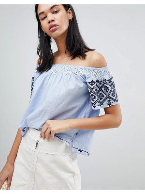 Pepe Jeans Paola Off Shoulder Embroidered Top