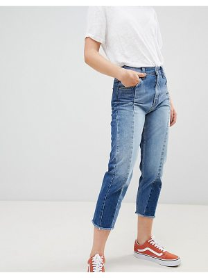 Pepe Jeans patchy paneled cropped boyfriend jeans-blue