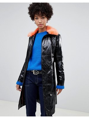Pepe Jeans patent belted jacket with faux fur collar