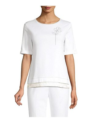 Peserico embellished flower stretch cotton tee