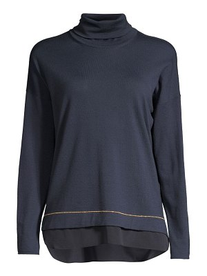 Peserico wool chiffon hem turtleneck sweater