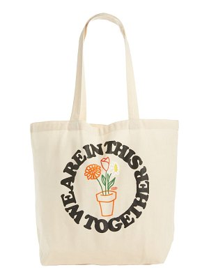 Petals and Peacocks in this together canvas tote
