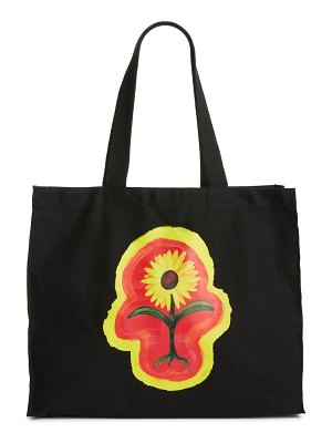 Petals and Peacocks protect your energy floral canvas tote