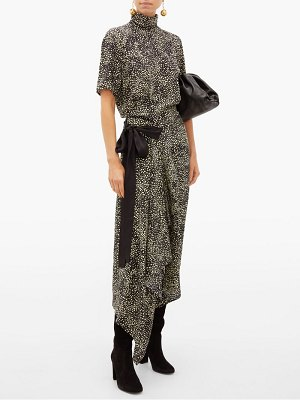 Petar Petrov afra high-neck asymmetric printed silk midi dress
