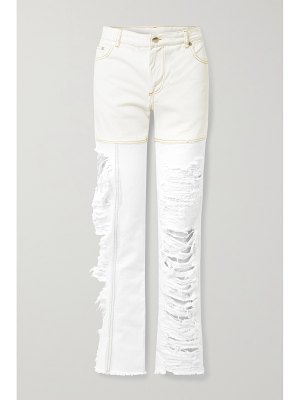 Peter Do distressed two-tone high-rise straight-leg jeans