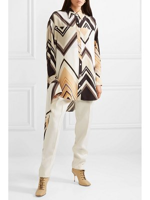 Peter Do draped printed silk crepe de chine shirt