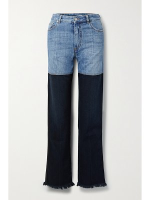 Peter Do frayed two-tone high-rise straight-leg jeans