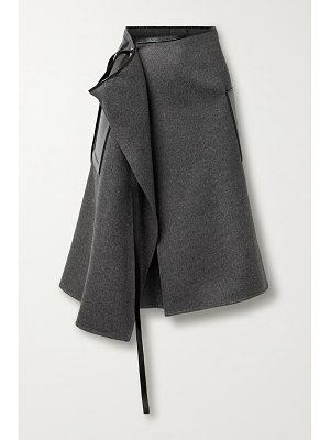 Peter Do leather-trimmed wool and cashmere-blend wrap skirt