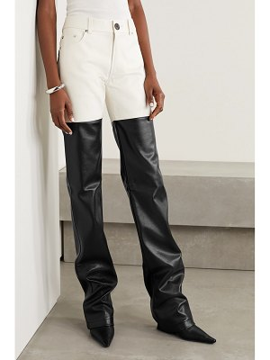 Peter Do paneled cotton-twill and faux leather straight-leg pants