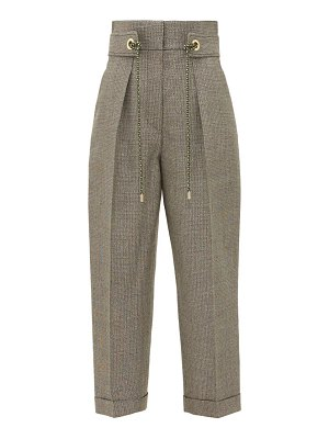 Peter Pilotto belted high rise lamé twill straight leg trousers