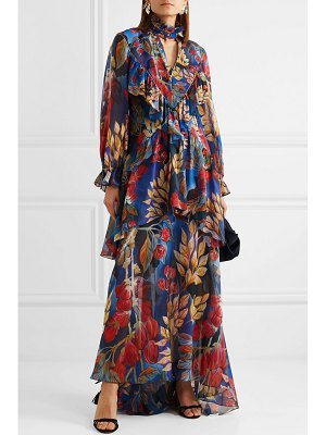 Peter Pilotto crystal-embellished ruffled floral-print silk-georgette maxi dress