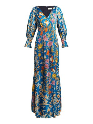 Peter Pilotto floral-print hammered silk-blend gown