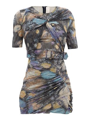 Peter Pilotto twist-front metallic-jersey mini dress