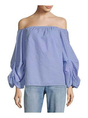 Petersyn Hannah Puff-Sleeve Gingham Blouse