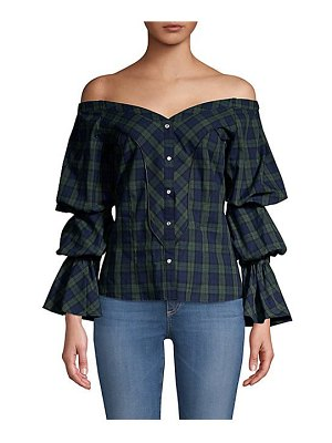 Petersyn lena puff-sleeve plaid blouse