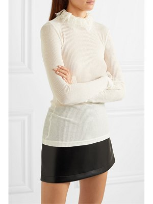Philosophy di Lorenzo Serafini lace-trimmed ribbed-knit turtleneck top