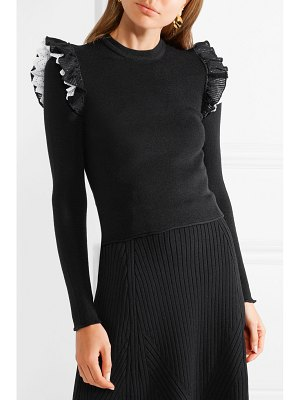 Philosophy di Lorenzo Serafini ruffled broderie anglaise-trimmed ribbed wool sweater