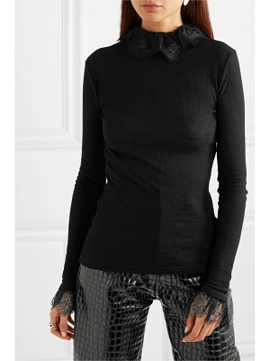 Philosophy di Lorenzo Serafini ruffled lace-trimmed ribbed-knit turtleneck top