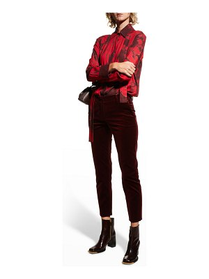 Piazza Sempione Abstract-Print Stock-Tie Blouse